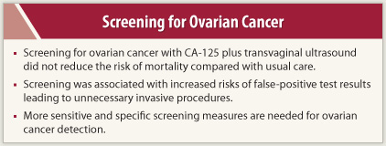 Screening For Ovarian Cancer Does Not Reduce Mortality And Leads To Unnecessary Tests For False Positives The Asco Post