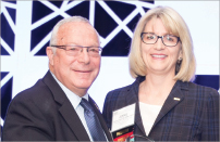 Jennie R. Crews, MD, MMM, FACP, ACCC President (right), and Cary A. Presant, MD, FACP, FASCO, Recipient of the ACCC David King Award (left). Photo courtesy of the ACCC.