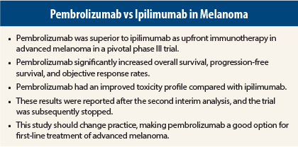 Practice-Changing Study: Pembrolizumab Outperforms Ipilimumab in ...